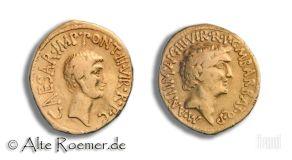 Extremely rare Markus Antonius and Octavian aureus