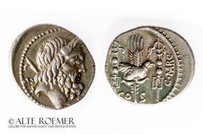 Roman Republican denarius coined 49 BC after Caesar crossed the Rubicon