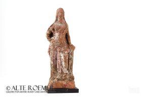 Polychrome hellenistic Aphrodite clay statuette